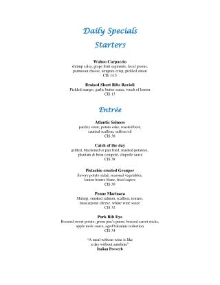 Dinner Menu of Daily Special Starter at Grand Old House Waterfront Restaurant in Grand Cayman