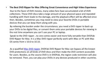 The Best DVD Ripper for Mac