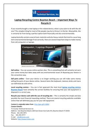 Laptop Recycling Centre Boynton Beach – Important Ways To Recycle It