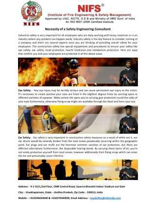 Industry Safety Measures For an Employee