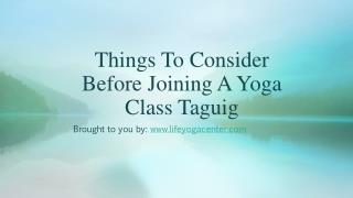 Things To Consider Before Joining A Yoga Class Taguig