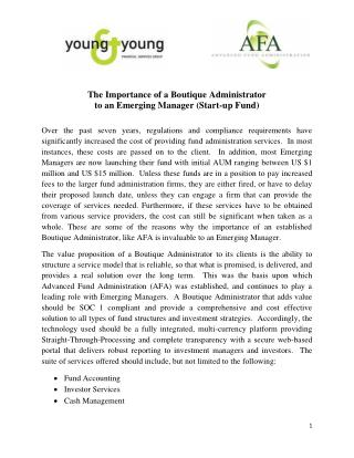 The Importance of a Boutique Administrator to an Emerging Manager (Start-up Fund)