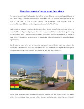 Ghana bans import of certain goods from Nigeria
