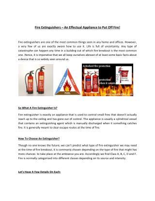 Fire Extinguishers – An Effectual Appliance to Put Off Fire