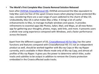 The World's First Complete Mac Cinavia Removal Solution Released