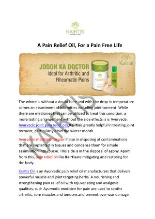 A Pain Relief  Oil, For a Pain Free Life