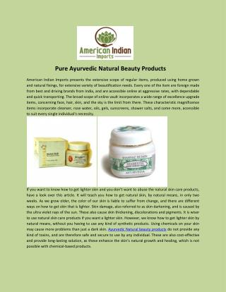 Pure Ayurvedic Natural Beauty Products