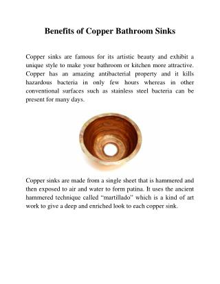 Top Benefits of Copper Bathroom Sinks