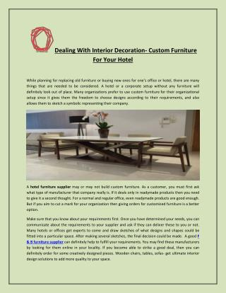 Dealing With Interior Decoration- Custom Furniture For Your Hotel