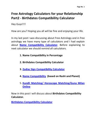 Free Astrology Calculators for your Relationship Part2 - Birthdates Compatiblity Calculator