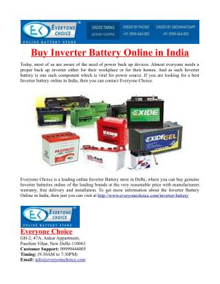 Buy Inverter Battery Online in India
