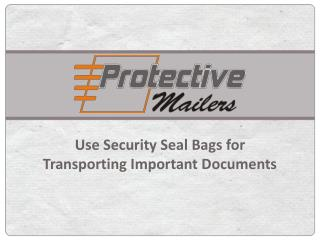 Use Security Seal Bags For Transporting Important Documents