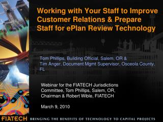 Working with Your Staff to Improve Customer Relations  Prepare Staff for ePlan Review Technology