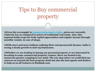 How to invest in commercial property in India