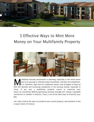 3 Effective Ways to Mint More Money on Your Multifamily Property
