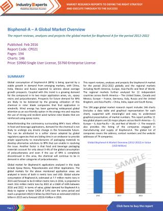 Bisphenol A Demand to Grow, Owing to Increasing Applications of Epoxy Resins and Polycarbonates in Automotive and Electr
