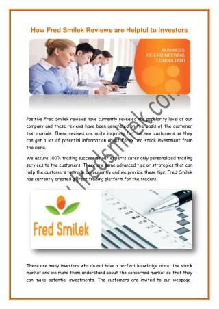 How Fred Smilek Reviews are Helpful to Investors
