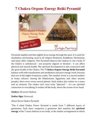 7 Chakra Orgone Energy Reiki Pyramid Divya Mantra