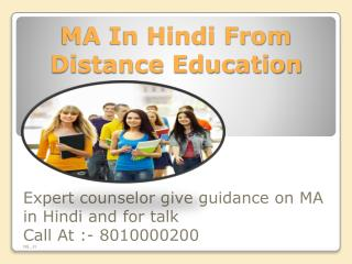 Distance Learning Ma in Hindi 8010000200