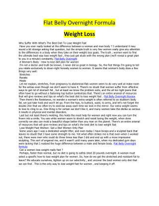 Flat Belly Overnight Formula
