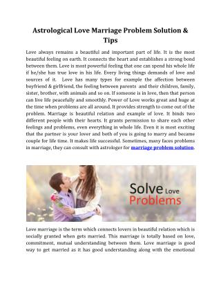 Astrological Love Marriage Problem Solution & Tips