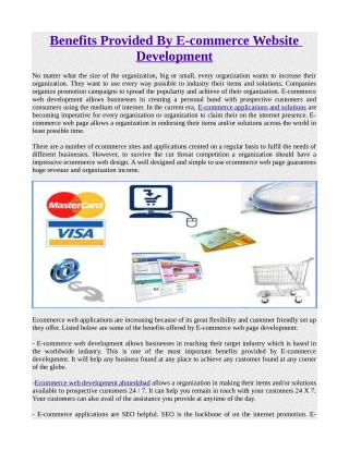 Benefits Provided By E-commerce Website Development