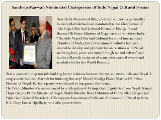 Sandeep Marwah Nominated Chairperson of Indo Nepal Cultural Forum
