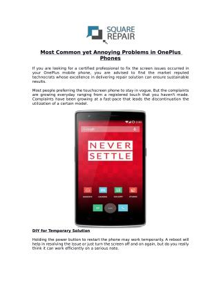 Find Prominent Oneplus Screen Repair Service Provider In London