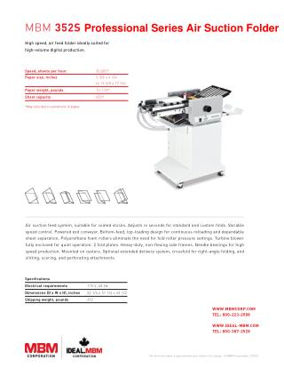 MBM 352S Professional Series Air Suction Folder - Printfinish.com