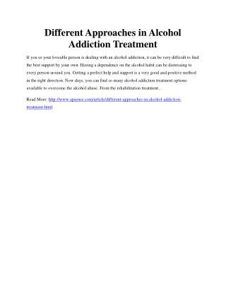 Different Approaches in Alcohol Addiction Treatment