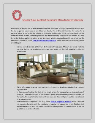 Choose Your Contract Furniture Manufacturer Carefully