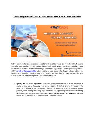 Right Credit Card Service Provider to Avoid These Mistakes