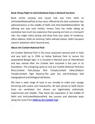 Delhi to Jim Corbett Taxi | Delhi to Jim Corbett Cab | Delhi Jim Corbett Taxi