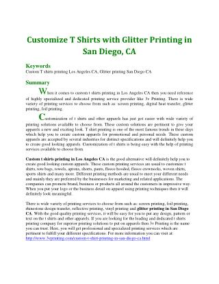 Customize T Shirts with Glitter Printing in San Diego, CA