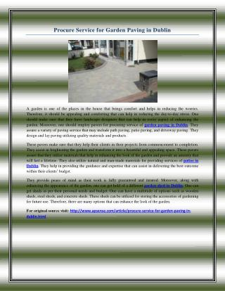 Procure Service for Garden Paving in Dublin