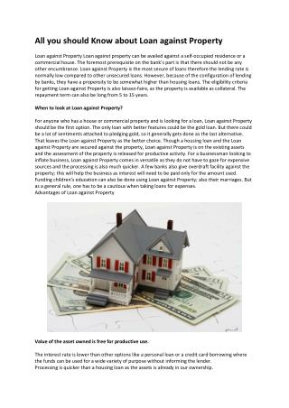 All you should Know about Loans against Property