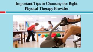 Important Tips in Choosing the Right Physical Therapy Provider