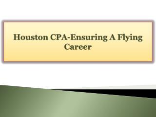 Houston CPA-Ensuring A Flying Career