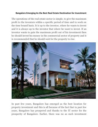 Ozone Group Review Bangalore Emerging As the Best Real Estate Destination for Investment