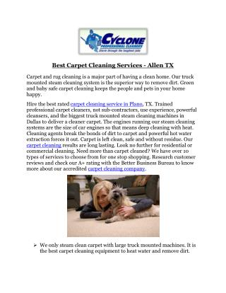 Best Carpet Cleaning Services - Allen TX
