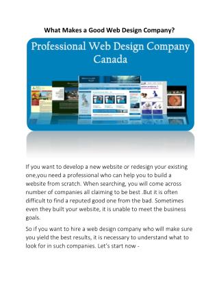 What Makes a Good Web Design Company?