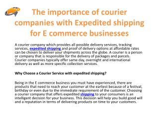 The importance of courier companies with Expedited shipping for E commerce businesses