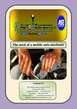 The need of a mobile auto mechanic