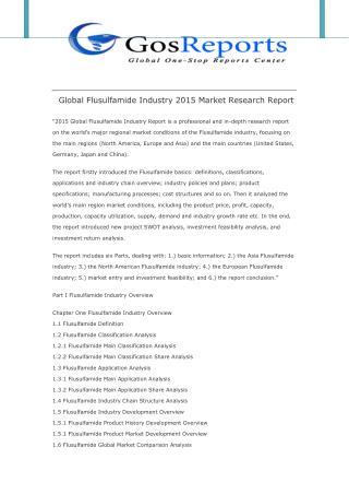 Global Flusulfamide Industry 2015 Market Research Report