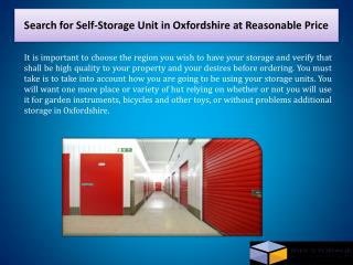 Search for Self-Storage Unit in Oxfordshire at Reasonable Price