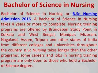 B.Sc Nursing Training