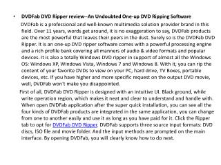 DVDFab DVD Ripper review--An Undoubted One-up DVD Ripping Software