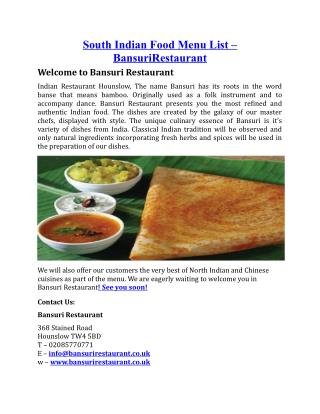 South Indian Food Menu List BansuriRestaurant