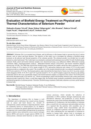 Evaluation of Biofield Energy Treatment on Physical and Thermal Characteristics of Selenium Powder