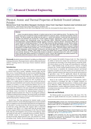 Influence of Biofield Therapy on Properties of Lithium Powder